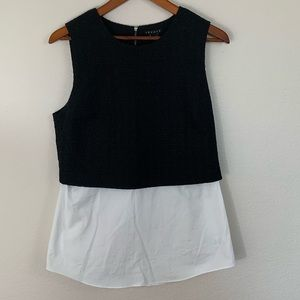Theory Shirttail Vest Blouse with Zipper Back